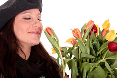 Easter tulips woman. Royalty Free Stock Images