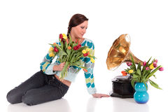 Easter tulips woman gramophone Stock Photos