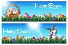 Easter two banner set with basket full of Easter eggs and rabbit in a grass field vector illustration