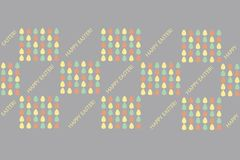 Easter typography banner Happy Easter. Blue, yellow, red eggs on violet background, pastel color Royalty Free Stock Images