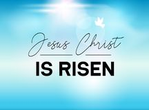 Easter Typography banner He is Risen sky and sun. Jesus Christ our God is risen. Christian sunday resuraction for church.  vector illustration