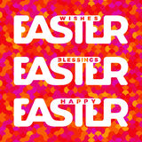 Easter typography card. Monolithic typography for Easter greeting cards, invitations. Colorful mosaic  background. Image suitable for gift tags, label design Stock Photos