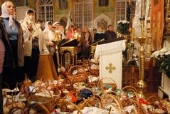 Easter in Ukraine. In expectation of a priest. Stock Photo