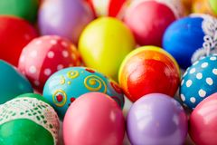 Easter variety. Various Easter eggs with creative colorful painting Stock Photo