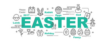 Easter vector banner. Design concept, flat style with thin line art icons on white background Royalty Free Stock Photography