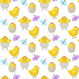 Easter vector cartoon seamless pattern background holiday decoration spring celebration traditional greeting symbols. Royalty Free Stock Image
