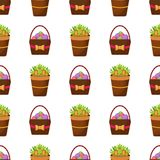 Easter vector cartoon seamless pattern background holiday decoration spring celebration traditional greeting symbols. Royalty Free Stock Photography