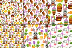 Easter vector cartoon seamless pattern background holiday decoration spring celebration traditional greeting symbols. Stock Photo