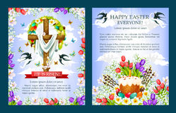 Easter vector crucifix cross, paschal cake poster. Easter posters with Crucifix, paschal cake and eggs. He is Risen cross with Christ shroud decorated by floral Stock Image
