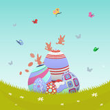 Easter vector with eggs in meadow Royalty Free Stock Images