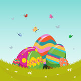 Easter vector with eggs in meadow Stock Photography