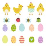 Easter vector elements set of spring yellow chicken characters, cute ladybug, beetle and bee royalty free illustration
