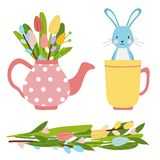 Easter elements for spring time made of flowers bouquet and pink tea pot with tulips and willow vector illustration