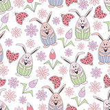 Easter 2017-11. Vector floral seamless pattern with cute rabbits, ladybug and flowers. Flat objects made of childish style on a white background Stock Images