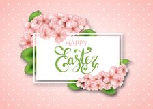 Easter vector frame with sakura flowers and leaves. Spring cherry blossoms background. Realistic japan cherry branch with blooming flowers. Happy Easter Royalty Free Stock Photos