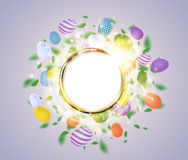 Easter vector golden ring frame with egg, leaves, spark and light effect Stock Image