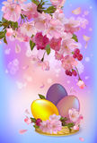Easter vector greeting card with flowers and eggs Royalty Free Stock Photo