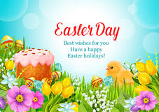 Easter vector greeting paschal cake, eggs, flowers Stock Photography