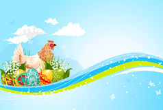 Easter vector greeting template paschal hen eggs Royalty Free Stock Photo