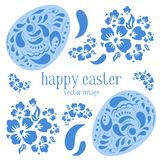Easter vector illustration set with ornate easter eggs in russian style and flowers. On white background Royalty Free Stock Images