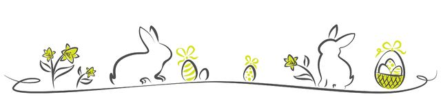 Easter vector isolated banner with bunnys and eggs royalty free illustration