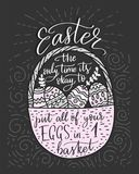 Easter vector lettering card. Postcart with quote - Easter, the only time it s okay to put all your eggs in 1 basket Royalty Free Stock Image