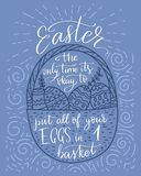 Easter vector lettering card. Postcart with quote - Easter, the only time it`s okay to put all your eggs in 1 basket Royalty Free Stock Photo