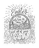 Easter vector lettering card. Postcart with quote - Easter, the only time it`s okay to put all your eggs in 1 basket Stock Photo
