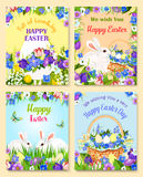 Easter vector paschal eggs bunny greeting cards. Happy Easter greeting cards. Vector paschal hunt design of eggs and bunny. Bunch of spring flowers narcissus Royalty Free Stock Photography