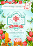 Easter vector paschal poster of cake paska kulich Royalty Free Stock Photo