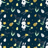 Easter vector pattern with bunny, eggs, leaves and flowers on a dark background. Surface pattern for Easter holiday stock illustration