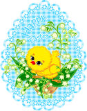 Easter vector picture with chicken in basket Royalty Free Stock Photo