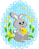 Easter vector  picture with rabbit and chicken Royalty Free Stock Images