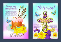 Easter vector poster crucifix cross, paschal cake Royalty Free Stock Images