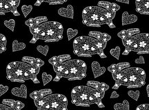 Easter vector seamless pattern with rabbits and hearts. Endless valentine texture Stock Image