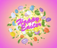 Easter vector splash with egg, leaves, spark and light effect Stock Images