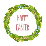 Easter spring tulips flowers bouqet, flower wreath, eggs elements vector illustration