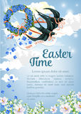 Easter vector swallow poster for paschal greeting Royalty Free Stock Photos