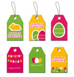 Easter vector tags. Easter tags. Easter greetings. Small gift cards for Easter design with bunny and eggs Royalty Free Stock Images
