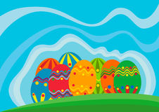 Easter vector theme. Illustration of Easter eggs and ribbons Stock Photos