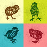 Easter vector vintage set with phrase and chicks Royalty Free Stock Photos