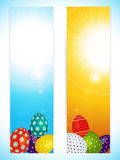 Easter vertical banners with decorated eggs Stock Photos