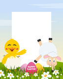 Easter Vertical Eggs - Chick and Lamb stock image