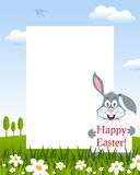 Easter Vertical Frame with Bunny Rabbit stock photography