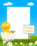 Easter Vertical Frame - Chick in Eggshell stock image