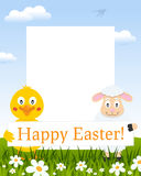 Easter Vertical Frame - Chick and Lamb royalty free stock image