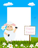 Easter Vertical Frame - Lamb with Flower royalty free stock photos