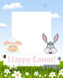 Easter Vertical Frame - Lamb and Rabbit royalty free stock images