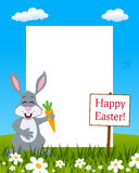 Easter Vertical Frame - Rabbit with Carrot stock image