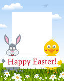 Easter Vertical Frame - Rabbit and Chick royalty free stock photography